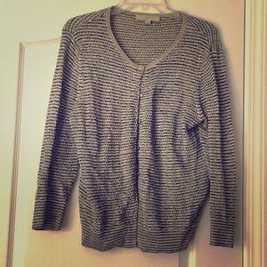 Loft metallic gray and black striped sweater